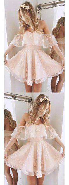 A-Line Off-the-Shoulder Short Pearl Pink Lace Homecoming Dress,Short/Mini Bridal Dress,Sweet 16 Cocktail Dress,Plus Size Prom Dress,Homecoming - Dresses i luv - Lace Homecoming Dresses, Hoco Dresses, Dance Dresses, Bridal Dresses, Short Dresses For Prom, Short Sweet 16 Dresses, Ball Dresses, Graduation Dresses, Short Dress Wedding