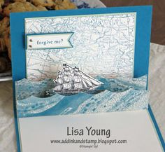 Stampin' Up! Open Sea stamp set. Pop Up Card. Masculine card. Handmade card by Lisa Young, Add Ink and Stamp