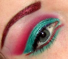 Red and green cut crease, Ariel from Little Mermaid inspired this lol