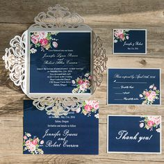 navy blue floral silver laser cut invitations EWWS090 as low as $2.09 |