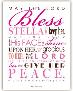 BEAUTIFUL! Baptism Gift / First Communion Gift - Print & Frame Your Own Personalized Scripture 8x10 - Pick Colors - Numbers 6 Priestly Blessing - DIY
