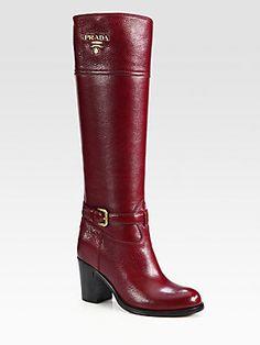 Prada Leather Buckle Knee-High Boots