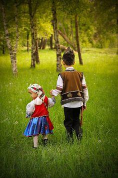 Kids in National Moldavian Dress