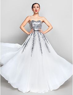 A-line Sweetheart Floor-length Chiffon And Sequined Evening/Prom Dress. Get $25 Off Upto $225 Purchasing by Using Following Promo Code Only at Lightinthebox.