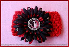 FSU College Bottle Cap Flower with bling.  Perfect for Mom or daughter or both...  :)