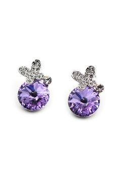 Metal flowers Crystal Earrings