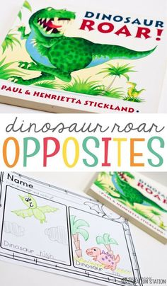 "Opposites are fun to learn about with this ""Dinosaur Roar"" book! This is a simple, fun book to read aloud when learning opposites. Grab the FREE printable about opposites to tie in with the book! Your students will enjoy this fun learning activity. Opposites Preschool, Dinosaurs Preschool, Dinosaur Activities, Dinosaur Crafts, Kindergarten Activities, Writing Activities, Opposites Worksheet, Teach Preschool, Preschool Literacy"