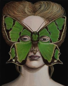 green - woman with butterfly face -  Deborah Klein - painting