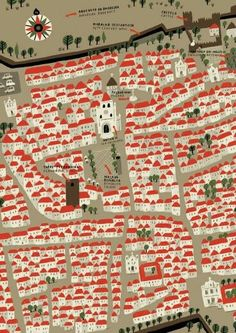 Those red-roofed houses! Don't know the location, origin, or artist, but I had to pin this one because it is so cute. #maplove #handdrawnmap #illustration #cartographylove
