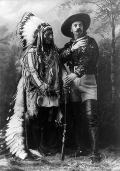 Sitting Bull and Buffalo Bill, 1885 | native american indian | feather headdress | shotgun | historical | northern plains | history | culture | 1800s