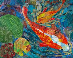 2 Koi by Elizabeth St. Hilaire Nelson Paper Paintings