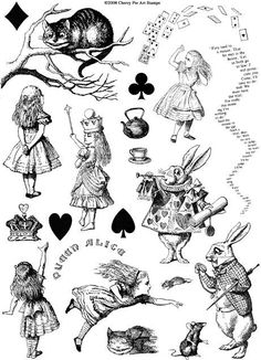 ALICE in WONDERLAND - one sheet of unmounted rubber stamps. $24.00, via Etsy.