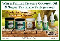 Sponsored by Primal Essence and Hosted by It's Free at Last I am intrigued by these new products!  My son would LOVE the Vanilla Chai - he is addicted to Vanilla Chai teas of any kind- hot, cold or frozen! Ready for Something NEW this Spring? Infuse...