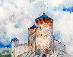 WATERCOLOR TIMELAPSE  I was commissioned by my art gymnasium to draw the symbol of our town, Olavinlinna Castle, for an invitation letter to exchange schools in China.
