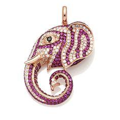 Rarities 5.05ct Diamonds & Rubies Elephant Pendant