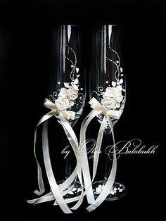 Ivory champagne wedding glasses with a beautiful by ArtsLux, $48.00: