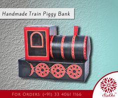 Teach your kids the value of saving money with this genuine leather train engine piggy bank. Serves also as nice decorative item. #LeatherPiggyBank #HandmadeItems #DIY #PiggyBank