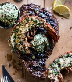 14 Manly Father's Day Recipes - Steak and Lobster with Spicy Roasted Garlic Chimichurri Butter