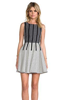 Line & Dot Binding Detail Dress in Grid Black   REVOLVE