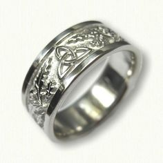 Platinum Celtic Thistle Block Band with Triangles -8.5 mm width