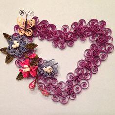 Quilled heart with flowers - designed and quilled by Barbara Steele