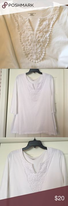 Charter Club white top Beautiful crochet neckline with three qtr sleeves. Excellent condition  Charter Club Tops