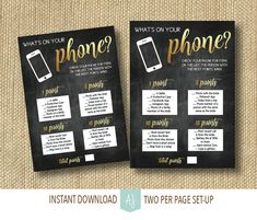 Bridal Shower Game-What's in your Phone- Printable file in Black and Gold- Chalkboard Shower Game- Customization NOT Included