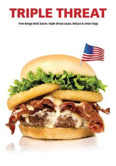 It's HERRRE !!! Free Range, Onion Rings, Lettuce, Hamburger, Toronto, Bacon, Beef, Dishes, Ontario