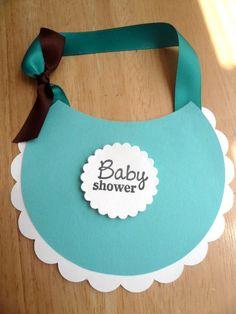 Baby Shower Bib Invitation by :) Invitaciones Baby Shower Niña, Mesas Para Baby Shower, Cute Baby Shower Ideas, Baby Shower Niño, Baby Shawer, Mish Mash, Baby Elephant, Tiffany Blue, Diy Cards