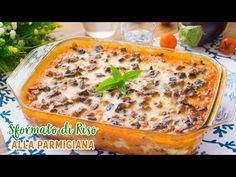 LoSformato di Riso alla Parmigiana è un primo piatto allegro e sfizioso, ideale per il pranzo e la cena del periodo primaverile ed estivo. Bulgar Wheat, Lasagna, Italian Recipes, Quinoa, Risotto, Baking, Ethnic Recipes, Dinner, Italian Desserts