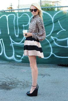 Balmain, Atlantic Pacific, Valentino, Street Style, Stripe Skirt, Victoria Secrets, Classy And Fabulous, Mixing Prints, Get Dressed