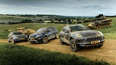 Porsche Macan vs Audi SQ5 vs #Evoque We take the Macan for a few off-roading manoeuvres with its rivals. And a tank. Did it survive?