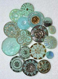 Antique Czech Iridescent, Vaseline Glass Buttons from Ebay. Button Crafts, Button Button, Vaseline Glass, European Windows, Aqua Glass, Blue Colors, Vintage Buttons, Metal Buttons, Robins Egg