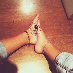 Ying Yang, sun and moon feet tattoo #TattooModels #tattoo