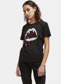Women's T-Shirts - Clothing | Find more at LN-CC - Blood Luster Mouth Print Crew Neck T-Shirt