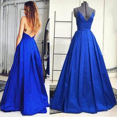 Spaghetti Straps Backless Long Satin Prom Dress/Prom Gown/Evening Dress cheap prom dress,long prom dress,prom dresses,2017 prom dress
