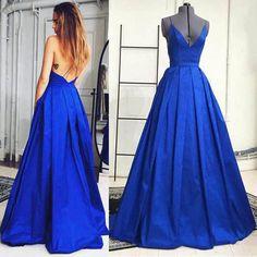Spaghetti Straps Backless Long Satin Prom Dress/Prom Gown/Evening Dress cheap prom dress,long prom dress,prom dresses,2017 prom dress