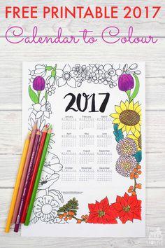 2017 Floral Colouring Calendar