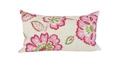 """This Thibaut Pink Floral Ikat Decorative Pillow Cover is a Gorgeous Modern Lumbar Throw Pillow, that Presents the ..""""ALEXA PINK"""".. Print Designer Pattern, From the Jubilee Collection.  This Pattern Features a Large Scale Floral Ikat Design in Colors of Light and Dark Pinks, Green and Cream, with the Same Fabric on Both Sides.  The Material for this Beautiful Trendy Toss Pillow is an Upholstery Weight Linen / Rayon Blend."""