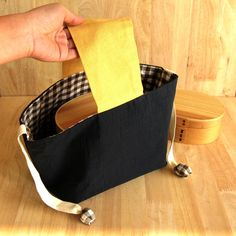 Marukopum Handmade Lunch bag (excluding food carrier).  brown tartan & navy blue. Japanese style. cotton 100% (made in Japan). by marukopum on Etsy