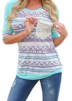 3b399469 Chellysun Women's Spring Casual Print Long Sleeve T-shirt Top Blouse at Amazon  Women's Clothing store:
