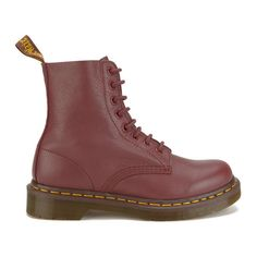 Dr. Martens Women's Core Pascal 8-Eye Leather Boots - Cherry Red... ($150) ❤ liked on Polyvore featuring shoes, boots, red, leather flat shoes, flat shoes, genuine leather shoes, red leather shoes and real leather boots