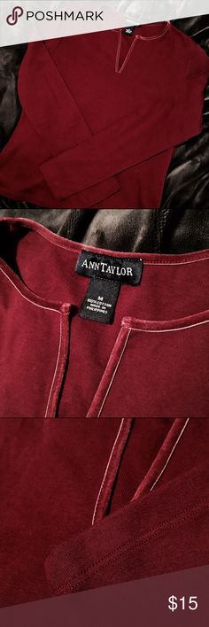 Ann Taylor Burgundy Velvet Trim Top 100% cotton comfort. Nice velvet trim detailing at the collar. It's in this season's hot color, too! Barely worn - looks just like new! Ann Taylor Tops Tees - Long Sleeve