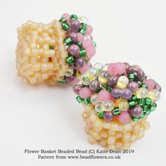 1fd385d9650 Flower Basket Beaded Bead Pattern, Katie Dean, Beadflowers This beading  pattern mixes Peyote stitch