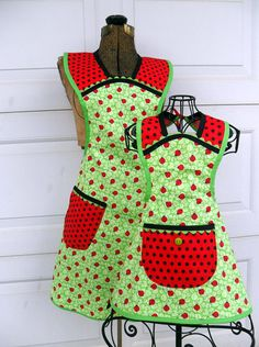 Matching Lady Bug Apron Set Mother Daughter Retro by Aprons2tie4