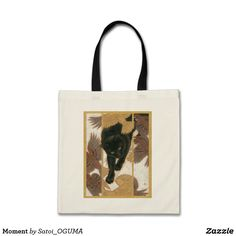 Lovely black cat and sparrows Tote Bag by Satoi Oguma.