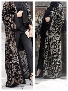 Modern Abaya, Modern Hijab Fashion, Batik Fashion, Abaya Fashion, Fashion Dresses, Embroidery Suits, Hijab Chic, Mode Hijab, Modest Outfits