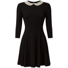 Black Crochet Collar 1/2 Sleeve Swing Dress ($16) ❤ liked on Polyvore featuring dresses, kohl dresses, crochet sleeve dress, shirred dress, collar dress and tent dress