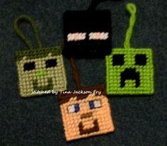 plastic canvas ornaments Minecraft Plastic Canvas Ornaments, Plastic Canvas Christmas, Plastic Canvas Crafts, Plastic Canvas Patterns, Pc Minecraft, Minecraft Pattern, Minecraft Bedroom, Handmade Ornaments, Xmas Ornaments