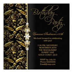 Shop Damask Floral Birthday Party Gold Black Invitation created by Zizzago. 60th Birthday Party Invitations, 70th Birthday Parties, Bachelorette Party Invitations, Gold Birthday, Wedding Invitations, Happy Birthday, 35th Birthday, Invites, Birthday Ideas